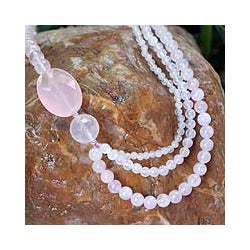 Sterling Silver 'Pretty Pink' Rose Quartz Necklace (Thailand)
