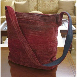 Bamboo Chenille 'Love' Medium Shoulder Bag (Guatemala)