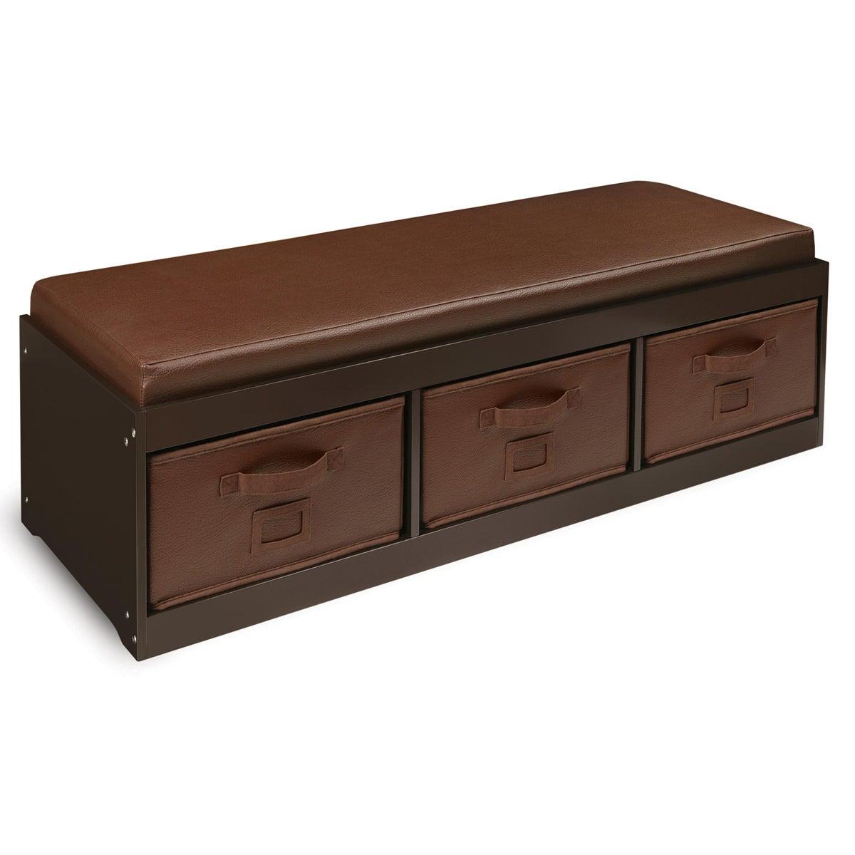 Espresso Kid's Storage Bench with Espresso Bins