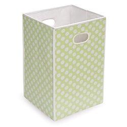 Sage Polka Dot Folding Hamper and Storage Bin