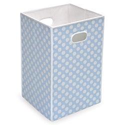 Blue Polka Dot Folding Hamper and Storage Bin