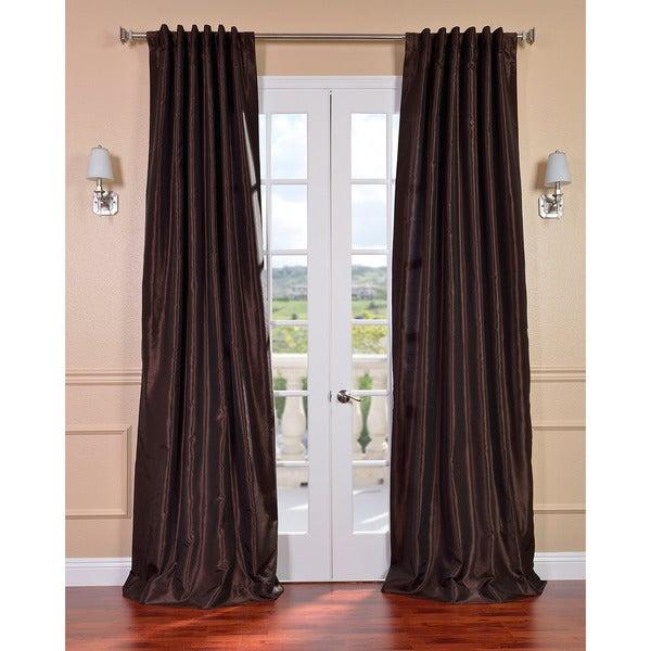Coffee Bean Vintage Faux Textured Dupioni Silk 96-inch Curtain Panel