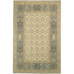 Hand-knotted French Aubusson Ivory Wool Rug (4' x 6')