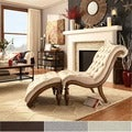 TRIBECCA HOME Bellagio Classic Tufted Chaise Lounge with Ottoman