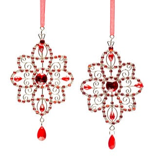 Set of Four Selections by Chaumont Red Crystal Star Holiday Ornaments