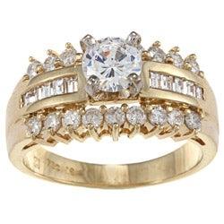 Kabella 18k Yellow Gold CZ and 7/8ct TDW Diamond Engagement Ring (H-I, VS1-VS2)