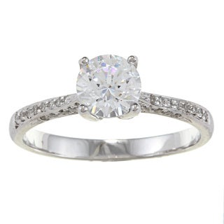 Kabella 14k White Gold CZ and 1/3ct TDW Diamond Engagement Ring (G-H, VS1-VS2)