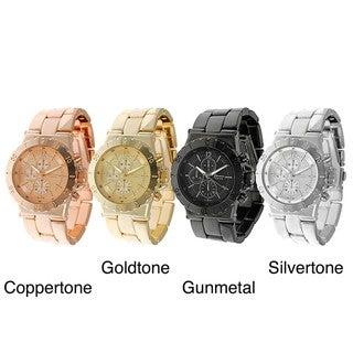 Geneva Women's Platinum Decorative Chronograph and Bezel Link Watch