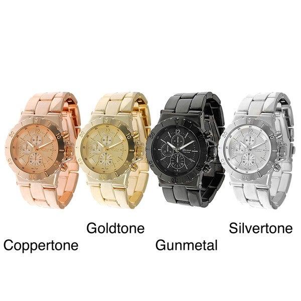 Geneva Platinum Men's Decorative Chronograph Style Link Watch