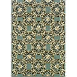 Blue/ Ivory Outdoor Area Rug (8'6 x 13')