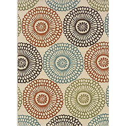 """Ivory/Blue Outdoor Area Rug (8'6"""" x 13')"""