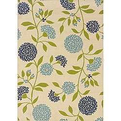 Ivory/Green Outdoor Area Rug (8'6 x 13')