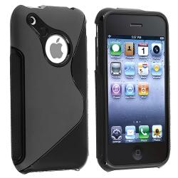 INSTEN Black S Shape TPU Rubber Skin Phone Case Cover for Apple iPhone 3G/ 3GS