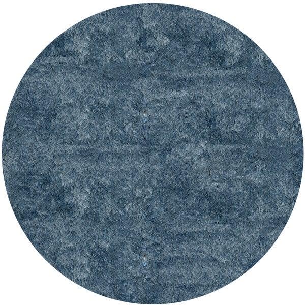 Handmade Posh Light Blue Shag Rug (4' x 4' Round)