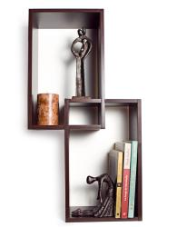 Intersecting Walnut Rectangular Shelves
