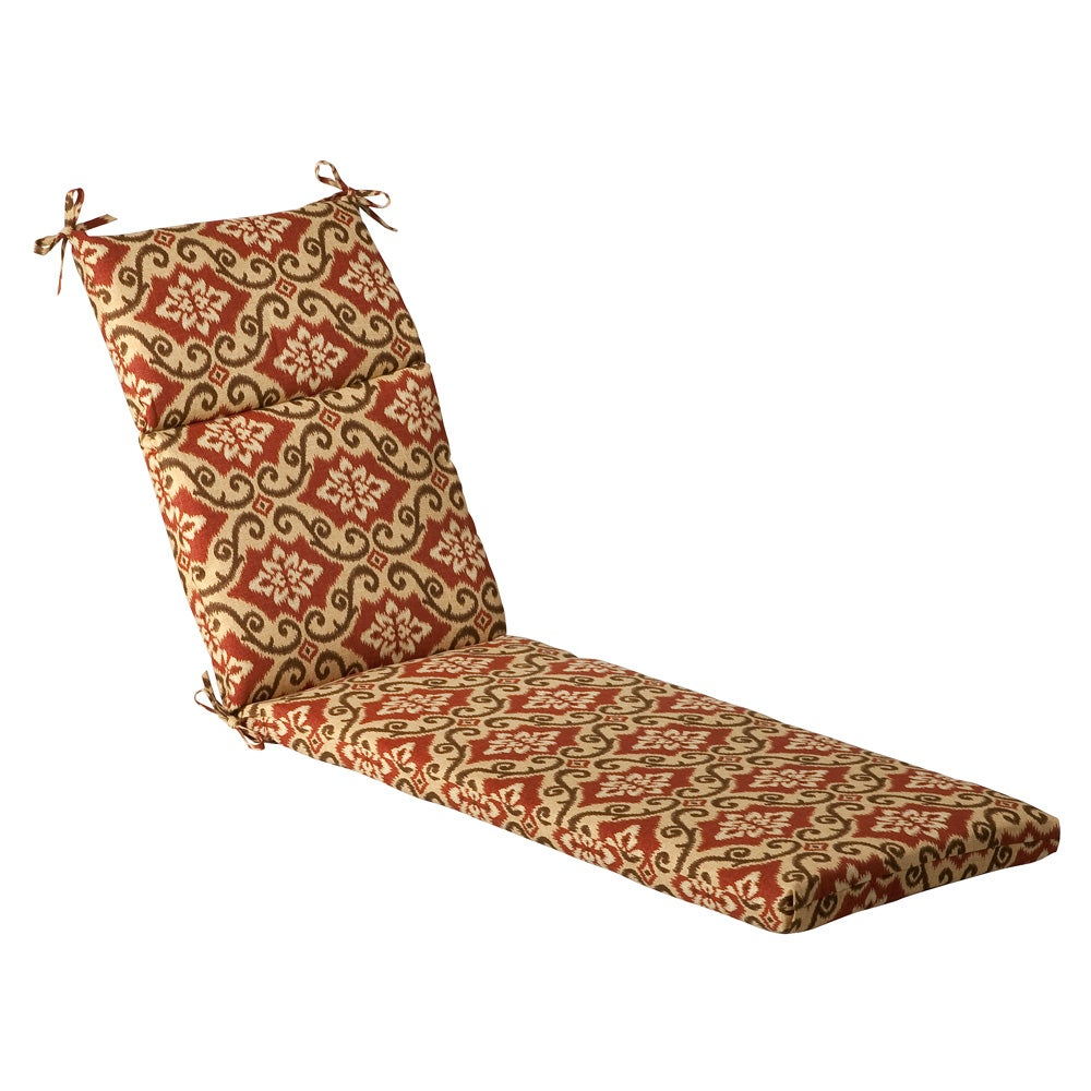 Pillow Perfect Outdoor Red Tan Damask Chaise Lounge