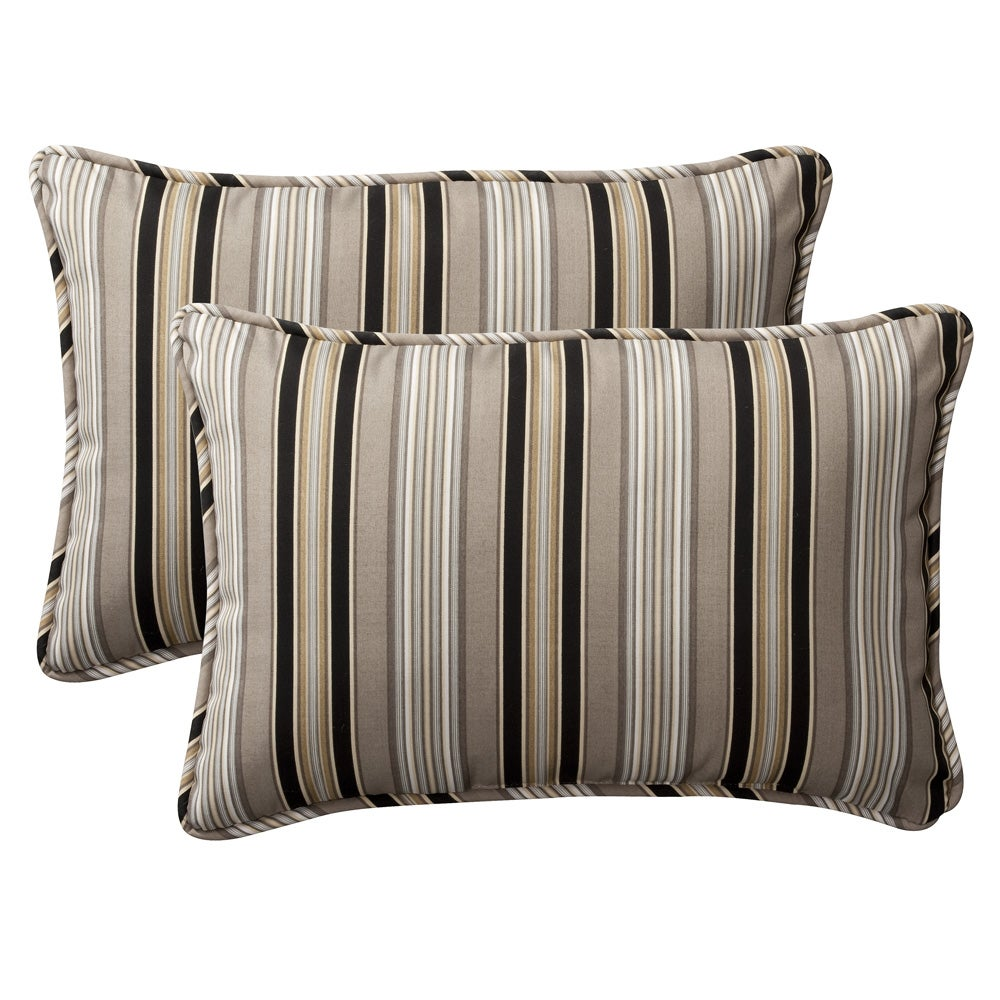 Pillow Perfect Decorative Black/ Beige Striped Outdoor Toss Pillows (Set of 2) - Overstock ...