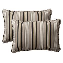 Pillow Perfect Decorative Black/ Beige Striped Outdoor Toss Pillows (Set of 2)