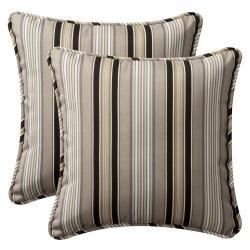 Pillow Perfect Outdoor Black/ Beige Stripe Toss Pillows (Set of 2)