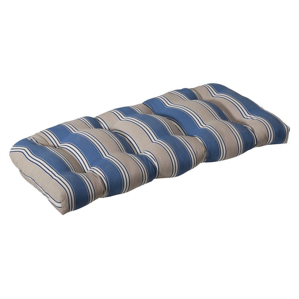 Pillow Perfect Outdoor Blue Tan Stripe Wicker Loveseat Cushion Overstock Shopping Big