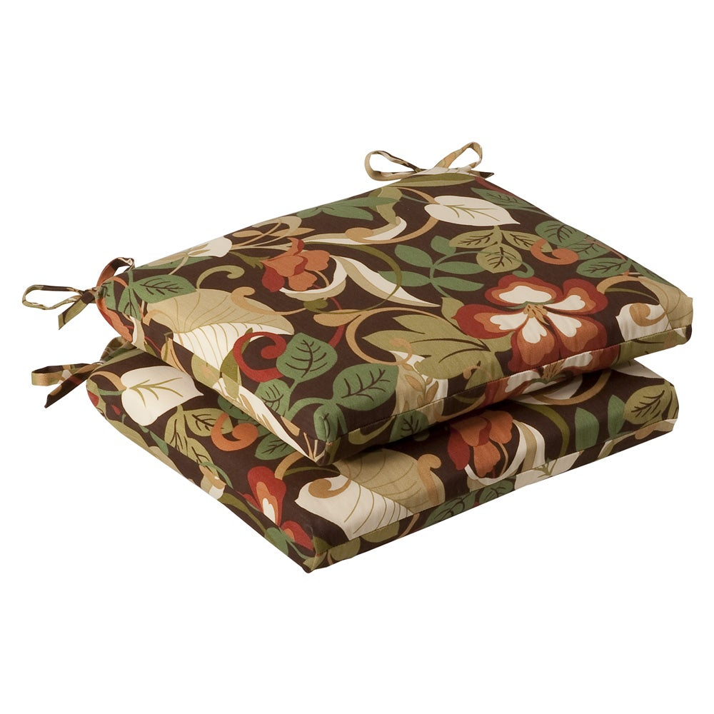 Pillow Perfect Outdoor Brown/ Green Tropical Squared Seat Cushions (Set of 2)