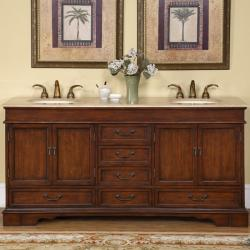 Silkroad Exclusive Natural Stone Top Sink Cabinet 72-inch Bathroom Double Vanity Sink Cabinet