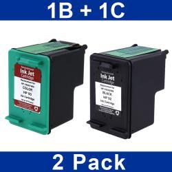 INSTEN HP 92/ 93 Black/ Color Ink Cartridge (Remanufactured) (Pack of 2)