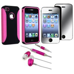 BasAcc Pink Hybrid Case/ Mirror Protector/ Headset for Apple iPhone 4