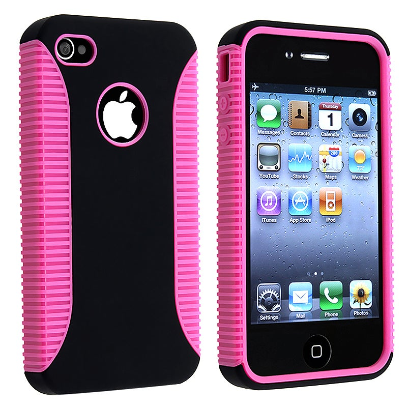 Hot Pink Hybrid Case Protector for Apple iPhone 4 AT&T