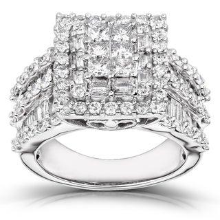 Annello 14k White Gold 2ct TDW Princess-cut Pave Diamond Ring (H-I, I2-I3) with Bonus Item