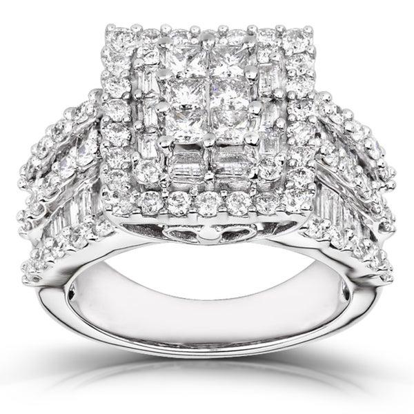 Annello 14k White Gold 2ct TDW Princess-cut Pave Diamond Ring (H-I, I2-I3)