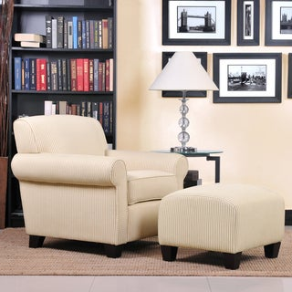 Portfolio Mira Sand Stripe Transitional Arm Chair and Ottoman