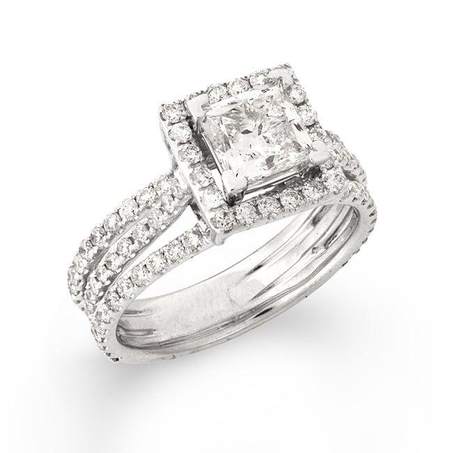 14k White Gold 2 2/5ct TDW Princess-cut Diamond Engagement Ring (G-H, SI2)