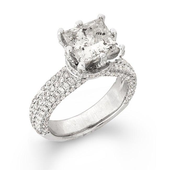 14k Gold 4 7/8ct TDW Certified Princess Cut Pave Band Diamond Ring (H, I1)