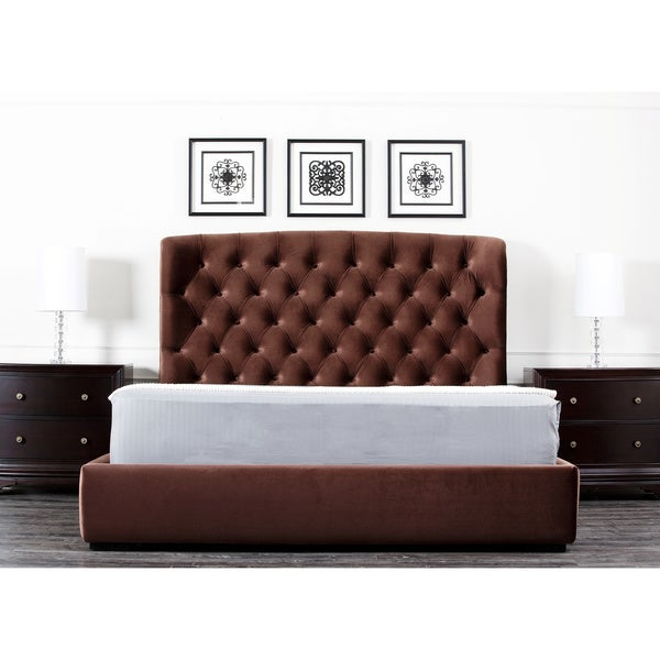 ABBYSON LIVING Presidio Chocolate Tufted Upholstered Eastern King-size Bed