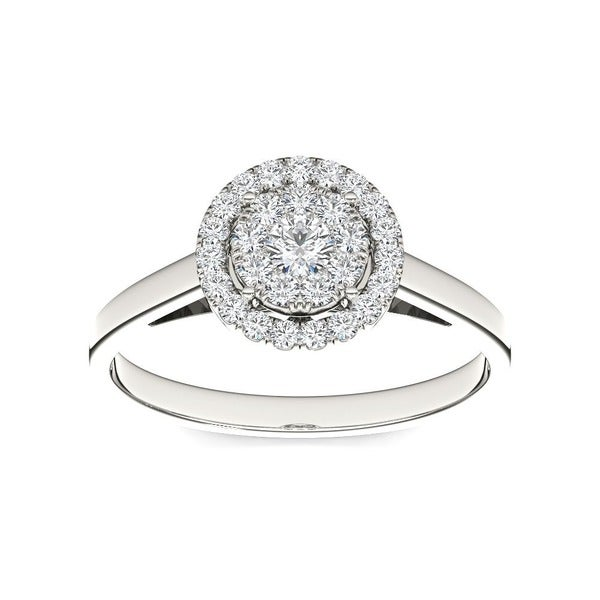 De Couer 10k White Gold 1/3ct TDW Round Multi Stone Diamond Ring (H-I, I2)