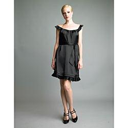 Issue New York Women's Black Flutter-sleeve Ruffle Hem Dress
