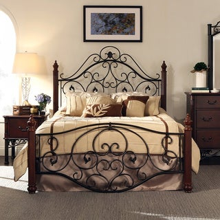 TRIBECCA HOME Madera Graceful Scroll Bronze Iron Metal Queen-sized Bed