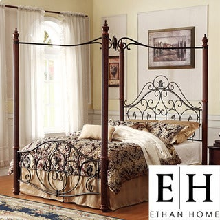 Madera Deco Queen-size Canopy Metal Bed