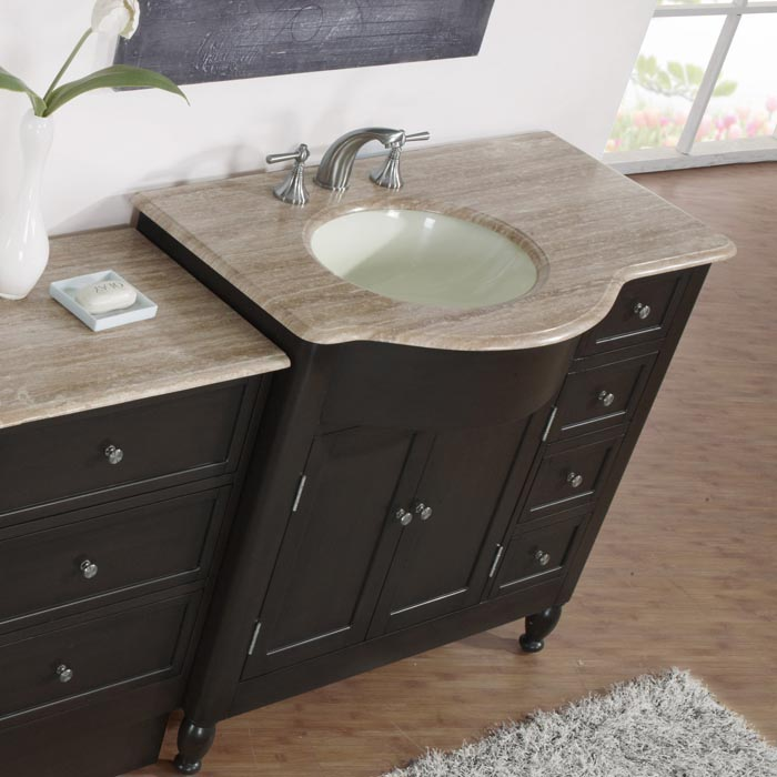 silkroad exclusive 58 inch travertine top single vanity