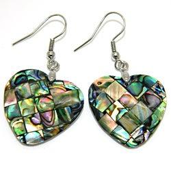 Pearlz Ocean Abalone Shell Heart Dangle Earrings