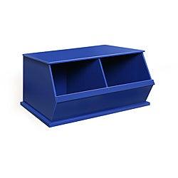 Two Bin Stackable Storage Cubby in Blue