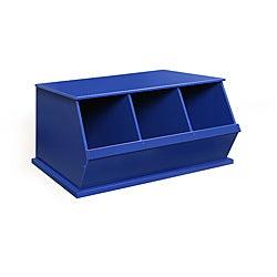 Three Bin Stackable Storage Cubby in Blue
