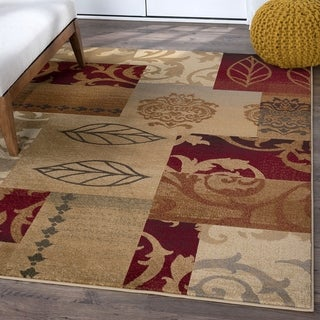 Infinity Collection Red Area Rug (7'