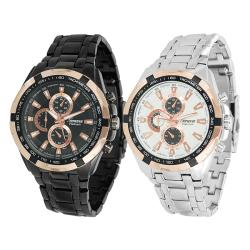Geneva Platinum Men's Japanese Quartz Chronograph-Style Link Watch