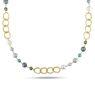 M by Miadora Multi-colored FW Pearl Oval Link Necklace (6-10 mm)