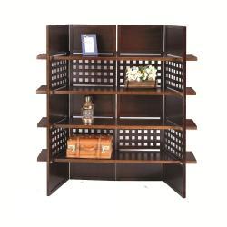 4-panel Book Shelves Walnut Finish Room Divider