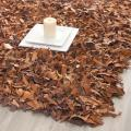 Safavieh Handmade Brown Medley Leather Metro Shag (4' x 6')