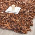 Safavieh Handmade Brown Medley Leather Metro Shag (3' x 5')