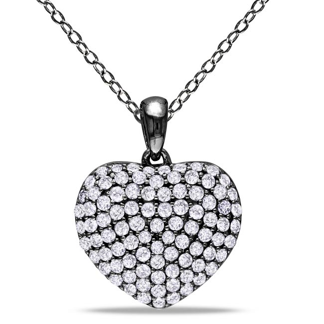 M by Miadora Sterling Silver 1ct TDW Pave Diamond Heart Necklace